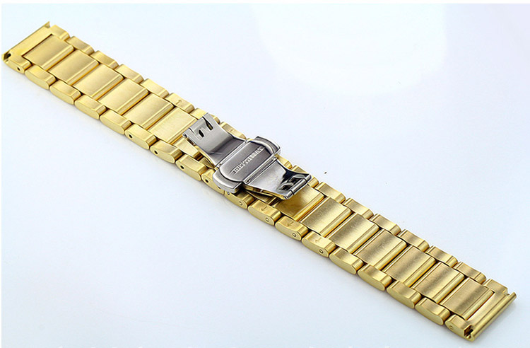 thay dây đồng hồ kim loại màu vàng